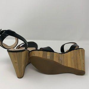 Prada bamboo platform sandals L 37 & R 37 1/2